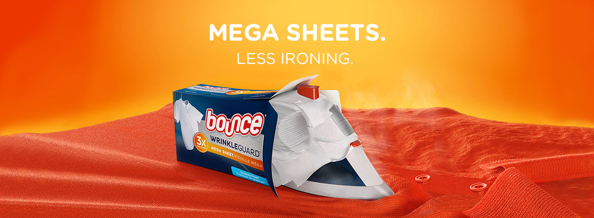 Iron less with Bounce Wrinkle Guard Megasheet Outdoor Fresh Dryer sheet