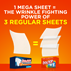 Just one Bounce WrinkleGuard Mega Sheet Outdoor Fresh Dryer Sheet contains the wrinkle fighting power of three regular Bounce Dryer Sheets.