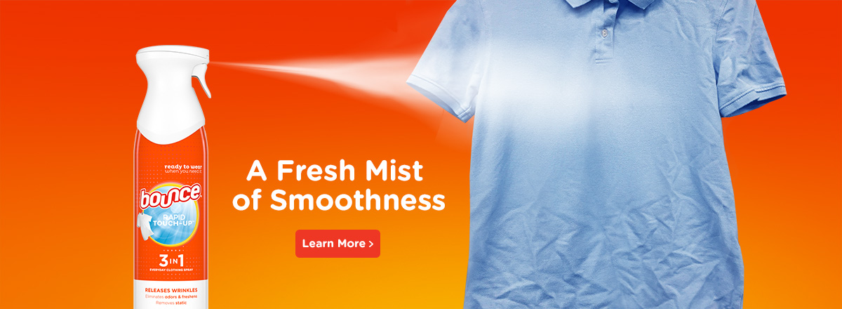 A fresh mist of smoothness on your shirt with Bounce Rapid Touch-up wrinkle release spray