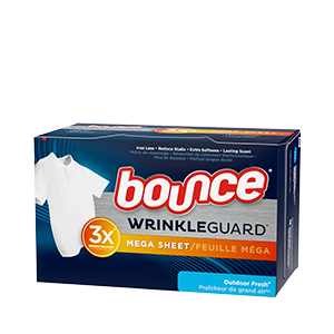 Bounce WrinkleGuard Mega Sheet Outdoor Fresh Dryer Sheets come in a dark blue box with an image of a crispy, wrinkle-free white T-shirt.