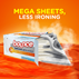 Bounce WrinkleGuard Mega Sheet Unscented Dryer Sheets reduce the need for ironing.