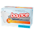 Bounce WrinkleGuard Mega Sheet Unscented Dryer Sheets come in a white and light blue box with an image of a crispy, wrinkle-free white T-shirt.