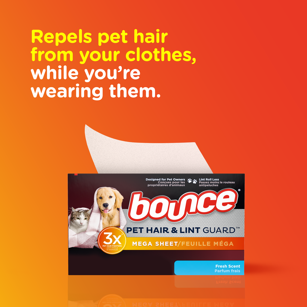 Pet Hair And Lint Guard Mega Dryer Sheets With Fresh Scent Bounce