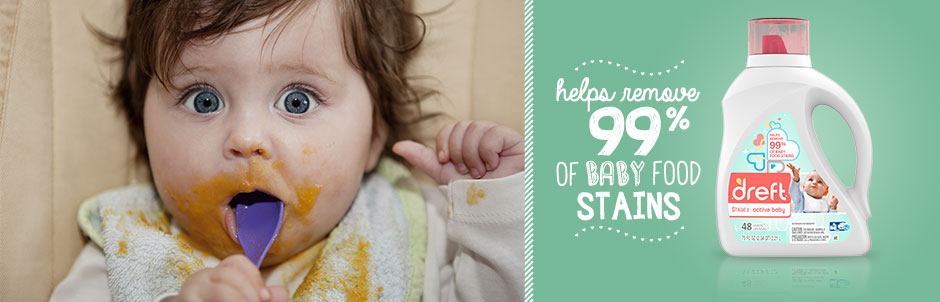 Helps remove 99 percent of baby food stains.