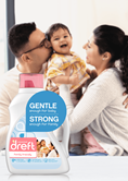 Dreft Family Friendly Laundry Detergent is gentle enough for baby, and strong enough for the family