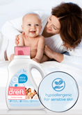 Dreft Family Friendly Laundry Detergent is hypoallergenic for sensitive skin